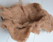 CLEARANCE SALE organic wool fluff basket filler in milk chocolate newborn photo props natural undyed wool layer