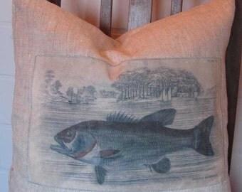 Linen pillow fish motif