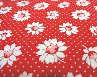 Japanese Fabric LECIEN Flower Daisy Polka Dots Red Fat Quarter