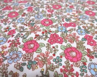 Japanese Fabric Pink Flower White  Fat Quarter