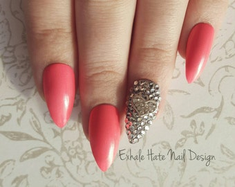 Shimmery Pink Nails with Swarovski Crystal Heart Charm Kawaii Bling Accent Press on Fake Nails - Stiletto, Square, Oval, Coffin/Ballerina