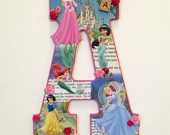 SALE! Any group of princesses - wooden letter with any Disney princesses-custom made 11""