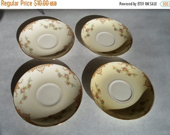 """ON SALE Vintage Set of Four 1940s Homer Laughlin """"Aristocrat"""" Pattern Eggshell Nautilus Saucers Plates Cottage Chic Shabby Chic"""