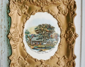 ON SALE Currier & Ives, Autumn in New England, Cider Making, Ceramic wall Hanging, Gold, Cottage Chic, Vintage, Yozie Mold, Frame, Art, Coll