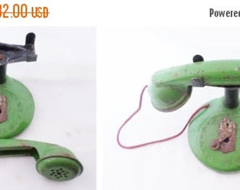 ON SALE 1930's, Vintage, Toy, Tin, Rotary, Telephone, Phone, Green, Black, Antique