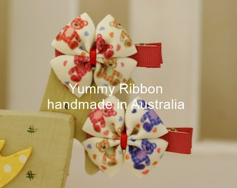 A pair baby clip,lovely girls hair accessories,kids hair accessories,baby hair accessories,toddler hair accessories,teddy bear ribbon bow
