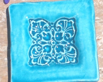 Turquoise or Blue Moroccan Dish, Ceramic Soapdish, Jewelry Tray, Moroccan Design, Square Madge Dish, Trendy Gift, Woodblock Stamped Soapdish