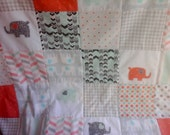 Coral, Mint and Gray Elephant Baby Quilt, Mint and Coral Elephant Nursery Quilt, Coral and Mint Crib Quilt, Elephant Nursery Bedding