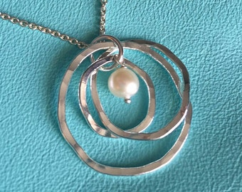 Organic Triple Nested Pendant with Pearl on Sterling Silver Chain