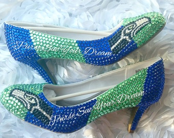 Seattle Seahawks Themed Custom High Heel Shoes - Seahawk Football - Custom Shoes - Chucks - Swarovski Crystals