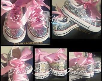 Custom Swarovski Crystal Rhinestone Converse Shoes - Flower Girl - Bridesmaid - Bridal Converse Wedding Shoes