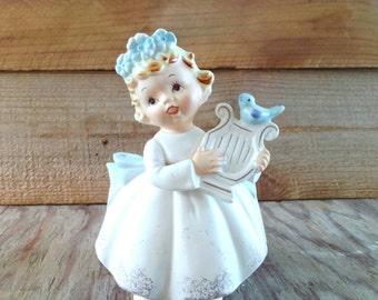 Lefton Angel Angelica Flower Pot Planter Blue Birds and Blue Flowers Blonde Haired Little Girl Holding Harp 1965 Japan