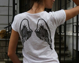 "NEW COLLECTION  White Cotton  ""Angel"" Tee / HandMade White  T-Shirt / Casual top with short sleeevs by Aakasha Top, (0326) A22433"