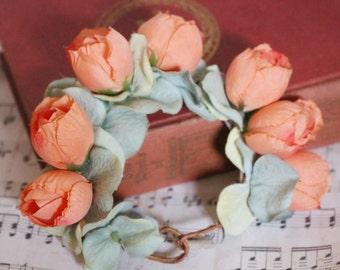 Princess Peach - peach rose Bun Belt - floral wreath, rose flower crown, bun crown, hair bun accessory, ballerina bun, romantic hair crown