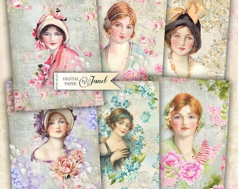 Lady Flower - digital collage sheet - set of 8 - Printable Download