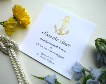 Gold Anchor Save the Date Card Set - Style 115