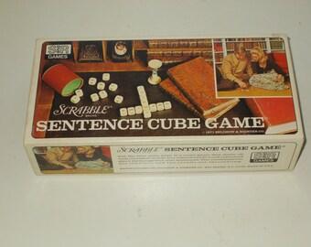 Vintage 1971 Scrabble Sentence Cube Game