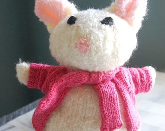 Hand Knit White Mouse.