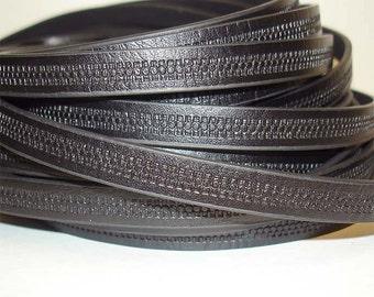 1Yd. BLACK Embossed Zipper Patterned Flat Leather//Embossed 10MM Genuine Flat Leather Cord//1Yd. 10MM X 2MM Flat Leather Cording