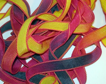 Fandango   42 inch hand dyed silk ribbon//Silk Wrist wap Bracelet Ribbon//Silk Ribbon//Silk Yoga Wrap Bracelet Ribbon//By Color Kissed Silk