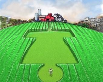Disc golf Art - Crop Circles.  Disc Golf Art Print.  Disc Golf Illustration.