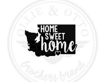ANY STATE & CITY - Washington wa State Home Sweet Home Vinyl Decal - customizable