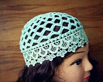 Pale teal Summer Beanie HAT COTTON crochet hat, women summer hats, light blue lace hat, sun hats for women, Gypsy hats, fashion hats