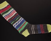 Colorful Hippie Knee High Crochet Socks, available in Women Sizes 5/6, 7/8 and 9/10