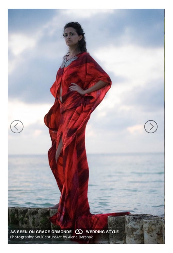 Irina Shabayeva red long caftan gown with a front slit and low back. Beaded neck line.