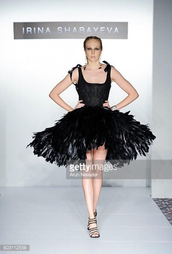 Irina Shabayeva Black Dahlia feather  cocktail dress with lace bodice.