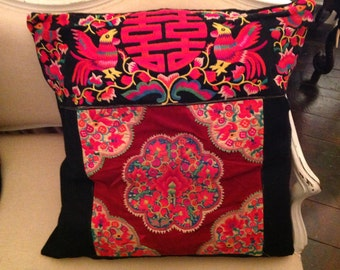 Very large vintage embroidered unique cushion cover