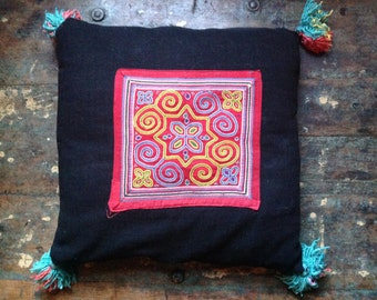 Vintage appliqué cushion cover