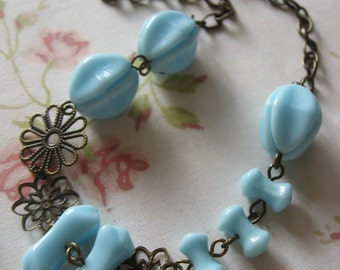 Blue glass stones from Czech antiqued brass necklace