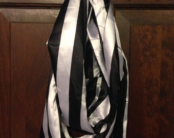 Black and White Stripe Satin Inifinity Scarf