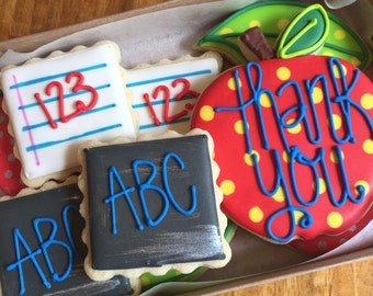 Back To SchoolDecorated Sugar Cookies-1 dozen
