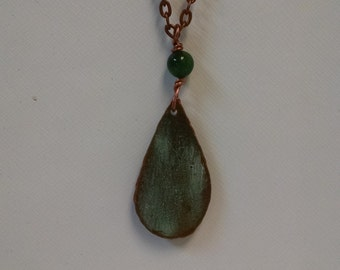 Bangor Public Library Copper Roof Medium Teardrop Necklace with Green Tigereye Bead Limited Edition RM
