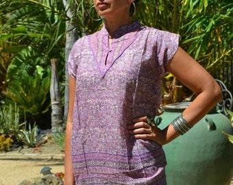Vtg 70's India NWOT Deadstock Boho lilac/rose floral block print sheer THIN cotton gauze cap sleeve tunic top blouse sz S//M
