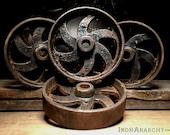 Antique Iron Factory Cart Wheels
