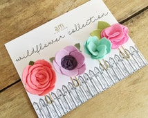 Wildflower All Felt Paper Clip Set || Flower Paper Clips || Felt Flower Clips || Planner Paper Clip || Stationary Paper Clip || Planners