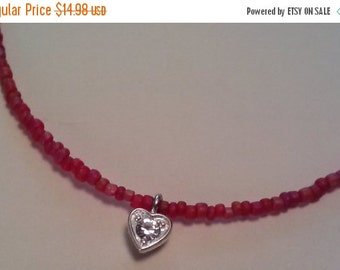 Half Off Red Seed Bead Anklet with Heart Charm