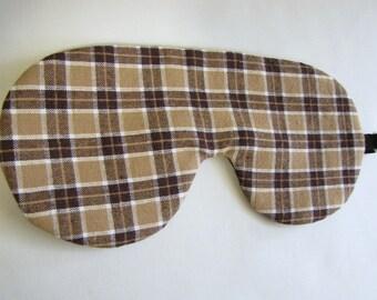 Plaid Sleep Mask, Brown Sleeping Mask, Adjustable Brown Plaid sleep mask