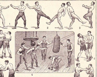 Antique French pugilist Print 1930s Illustrated Dictionary Page Boxing