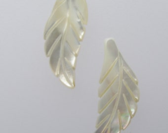 Pair Carved White Mother of Pearl Shell LEAF 25x10mm Pendants Top Drilled Feather