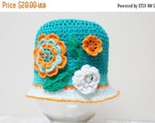 CLEARANCE Girl hat summer beanie beret cap crochet knit green Rose Flower handmade cotton sun beach garden orange flower floral young lady