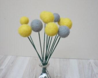 Felt pom pom flowers craspedia bouquet multicolor wool balls grey gray yellow arrangement stem floral Easter Billy buttons
