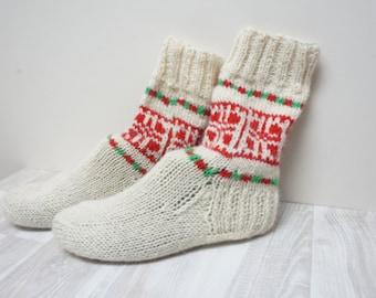 Socks Stockings hand knitted Leg warmer red green Christmas milk white size 6 7 8 handmade pattern ready to ship Wool woman scandinavian