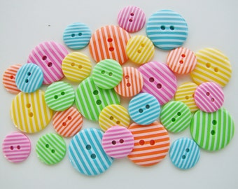 Bright Candy Stripes Button Collection [B0760]