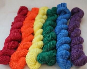 Rainbow Set Victorious 100% SW Merino Fingering Weight Sock Yarn
