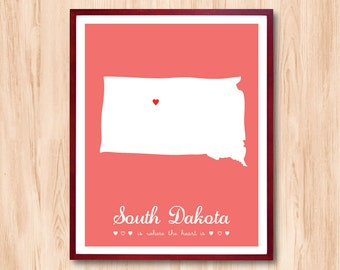 South Dakota State map, US state Map Art, Custom Map, Personalized state map, Baby gift, Nursery room art, Birth announcement