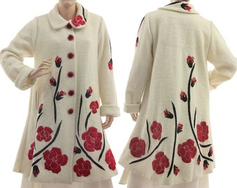 Wedding Bridal wool coat, white wedding coat with roses applications, formal wool coat in ecru white small to plus size S-L, US size 8-12/14